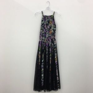 ASOS Black and Purple Floral Patterned Maxi Dress